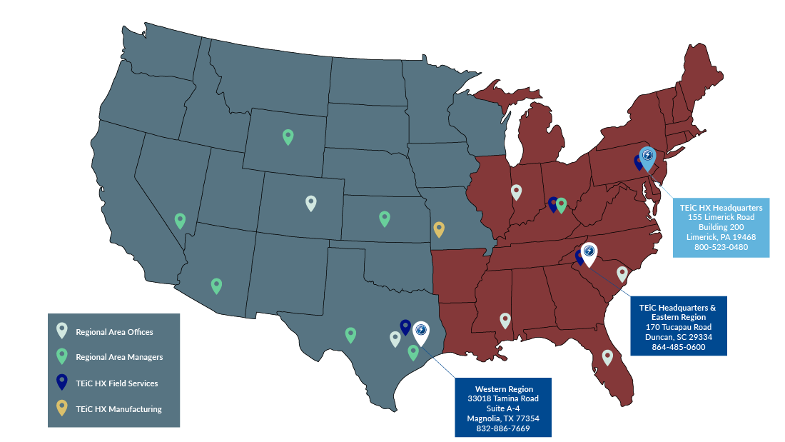 TEiC locations map including regional offices, managers, manufacturing, and field services
