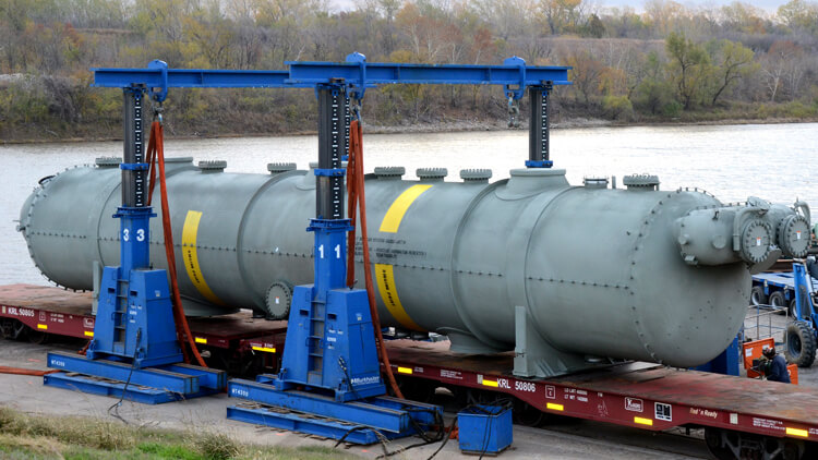 a moisture separator reheater being loaded onto a barge