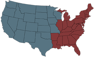 map of usa with eastern and western regions
